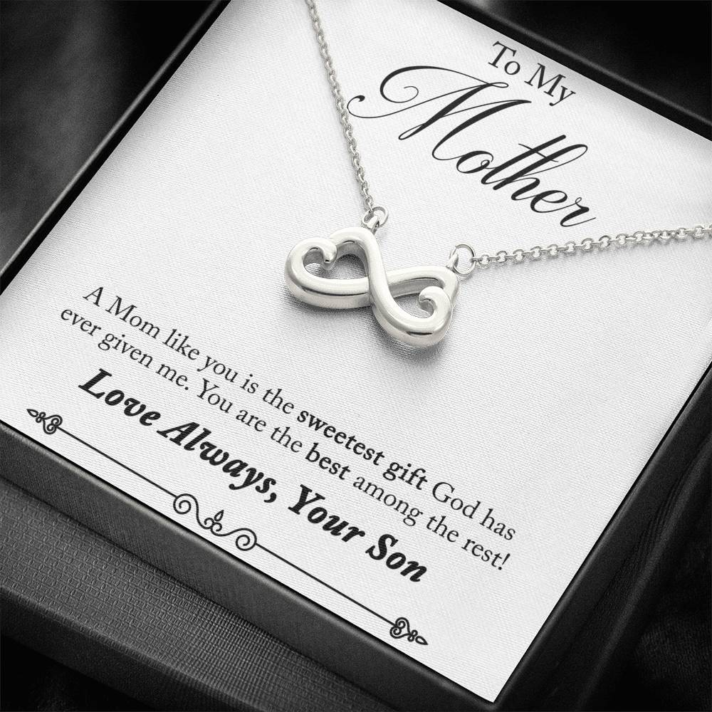 To My Mother Infinity Hearts Pendant Necklace, Gift from Son