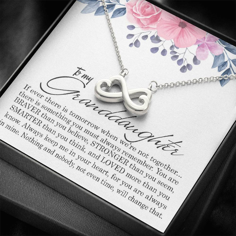 To My Granddaughter Infinity Heart Necklace Gift, Birthday Present
