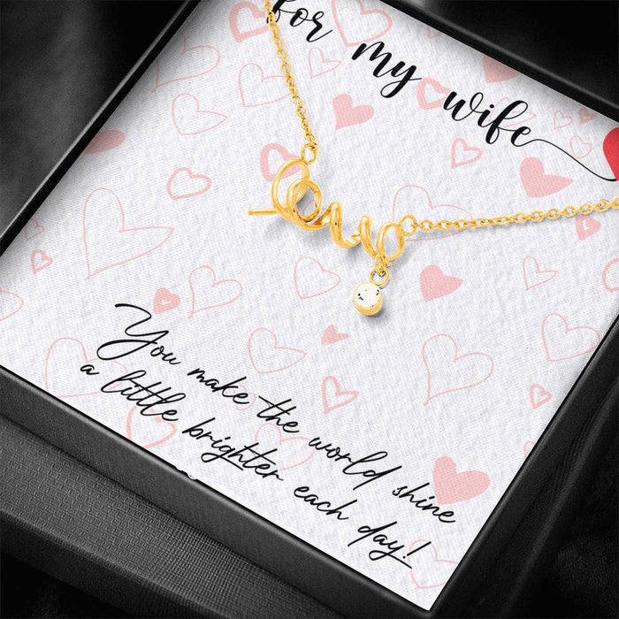 Valentine's Day Dainty Scripted Love Necklace