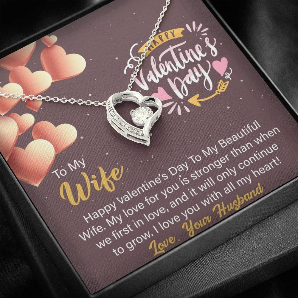 Valentine Necklace, Cubic Zirconia Heart Pendent, Valentine Gift Box with Card, Valentine Day Gift, Valentine Gift for Wife, Wife Gifts