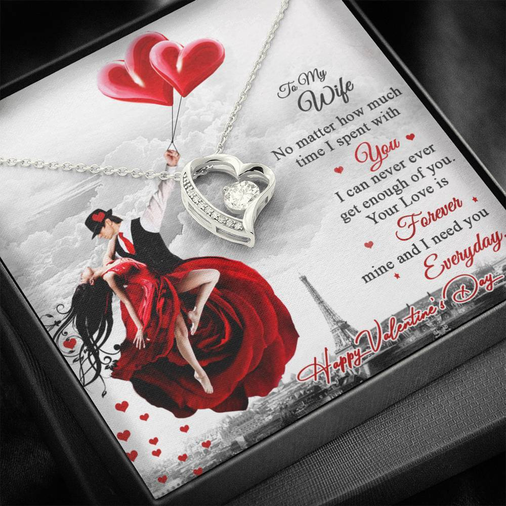 Valentine's Day Gift- Gift for Wife- Forever Love Necklace with Message Card
