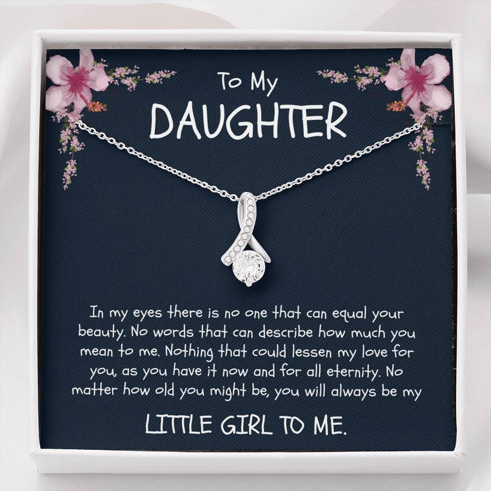 To My Daughter - Ribbon Necklace - Birthday, Christmas, Graduation, Engagement - From Mom / Mother / Mommy