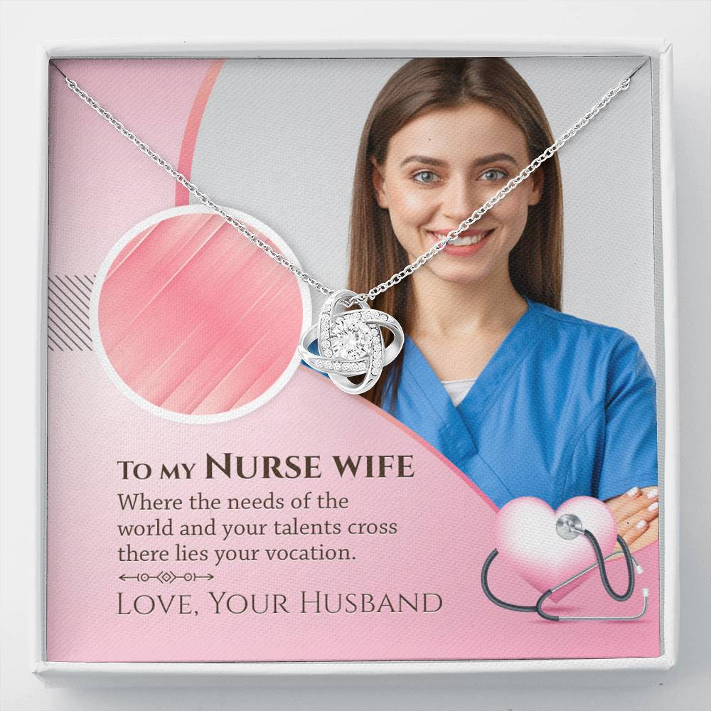 To My Nurse Wife - Love Knot Necklace