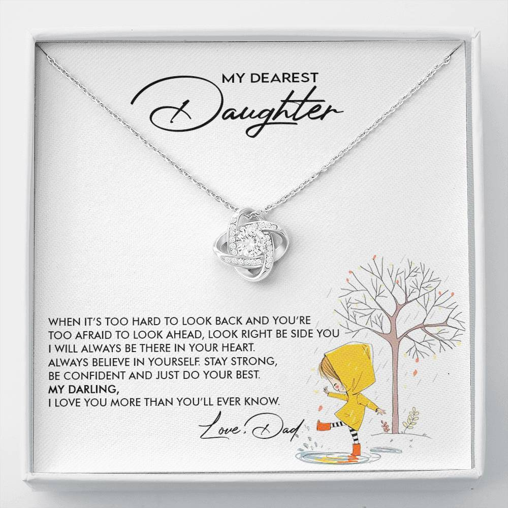 To my Daughter - I love you more than you'll ever know - Love Knot Necklace