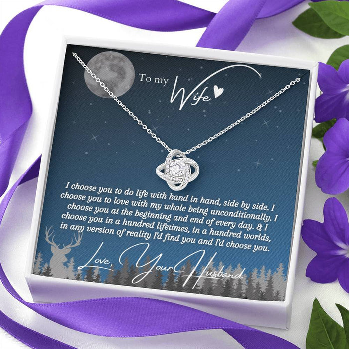 """I Choose You"" Love Knot Necklace (Sea Blue + Full Moon Edition)"