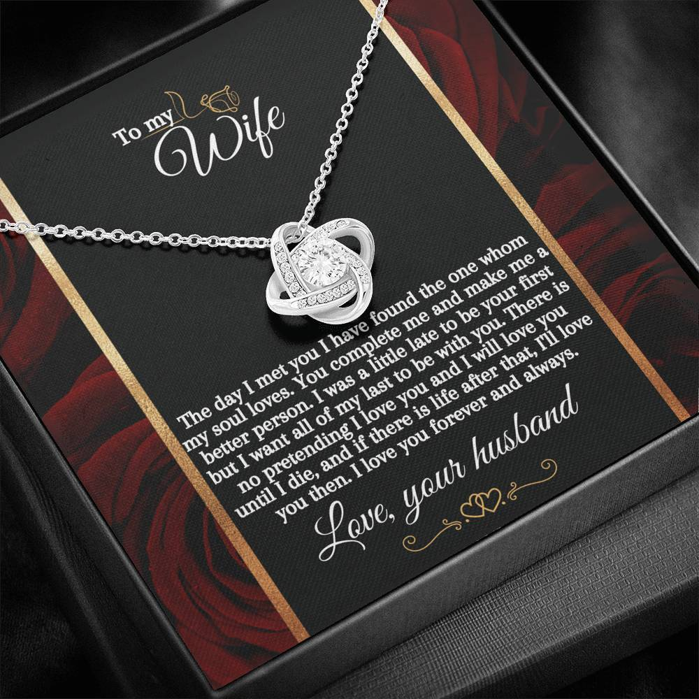 """The Day I Met You"" Love Knot Necklace (Golden Roses Edition)"