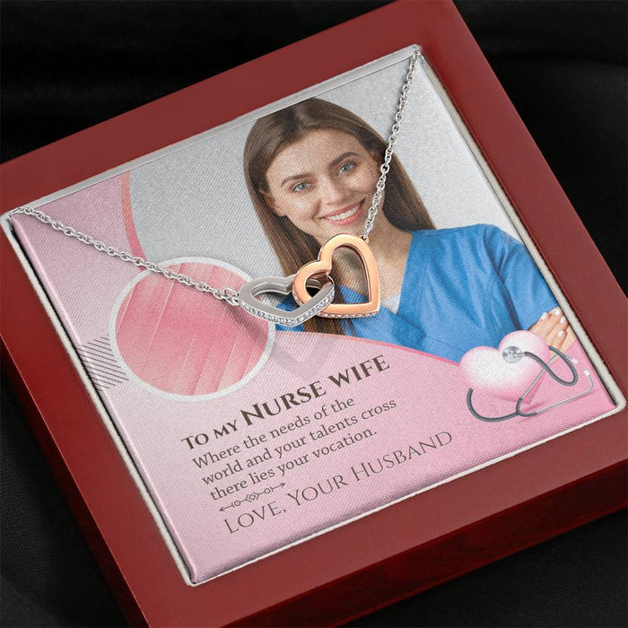 To My Nurse Wife - Interlocked Heart Necklace