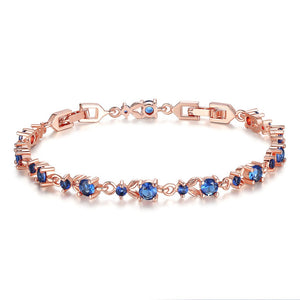 [Colorful Cubic Zirconia Stones] Luxury Rose Gold Plated Bracelet (Ocean Blue)