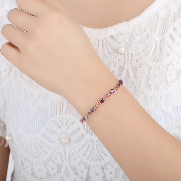 [Colorful Cubic Zirconia Stones] Luxury Rose Gold Plated Bracelet (Purple)