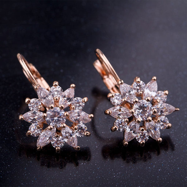 【18K Gold Plated】AAA Violet Zircon Drop Earrings
