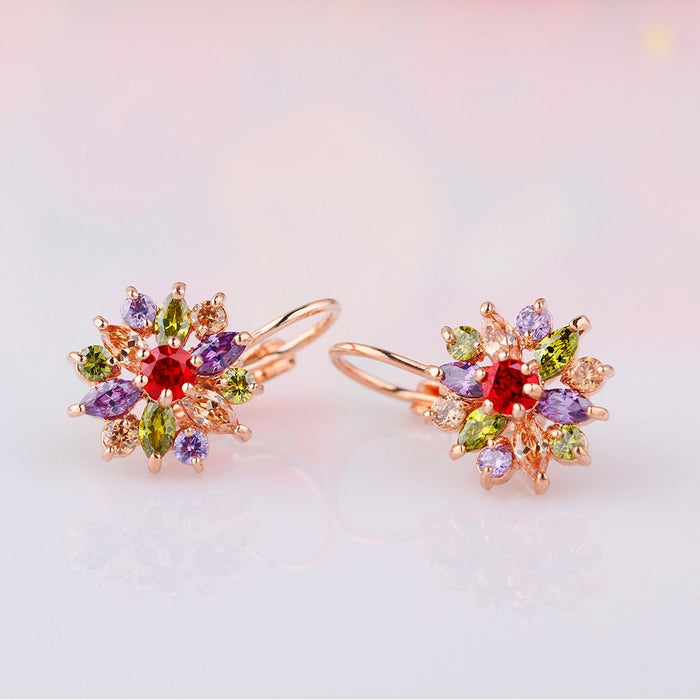 【18K Gold Plated】AAA Multi-Color Zircon Drop Earrings