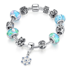 【Antique Silver】 Hot Sale Multiple Beads Charms Bracelets   (Blue)