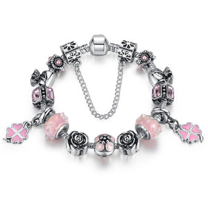 【Antique Silver】Fresh World Multiple Charms Bracelets (Pink)