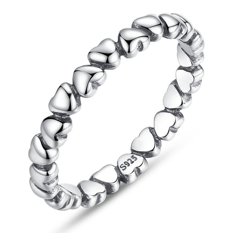 【925 Solid Sterling Silver】 Love Heart Finger Ring (Size 6-9)
