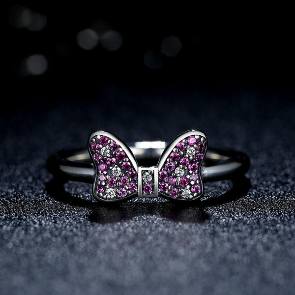 【925 Sterling Silver + Clear Cubic Zirconia】The Purple Bowknot Ring