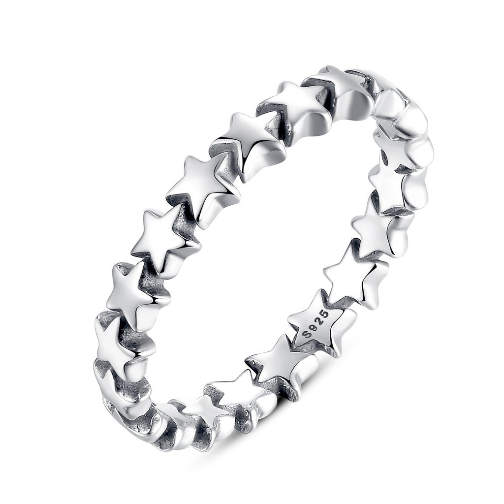 【925 Solid Sterling Silver】Sparking Stars Finger Ring (Size 7-8)