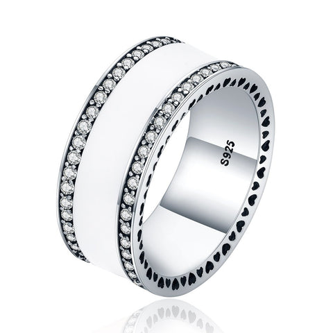 【925 Sterling Silver+ Cubic Zircon】The One Wide Ring (White)