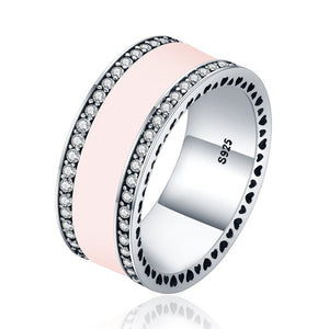 【925 Sterling Silver+ Cubic Zircon】The One Wide Ring (Pink)