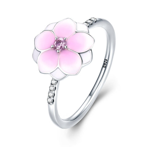 [925 Sterling Silver] Pink Magnoia Flower Finger Ring