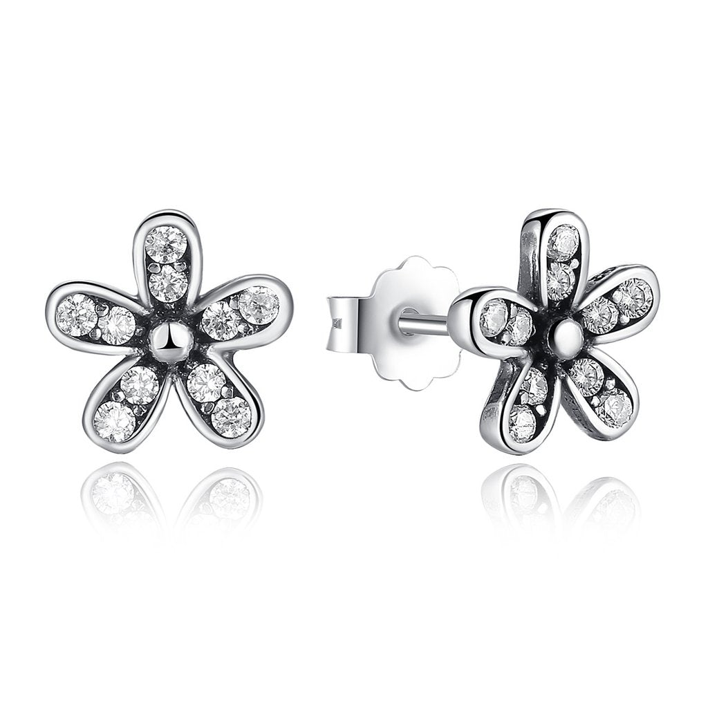 【925 Sterling Silver】 Dazzling Daisy Stud Earrings