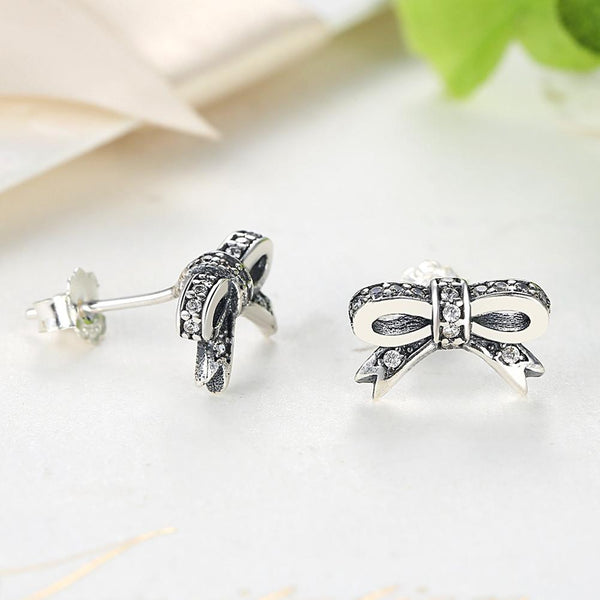 【925 Sterling Silver】 The Bow Knot Stud Earrings