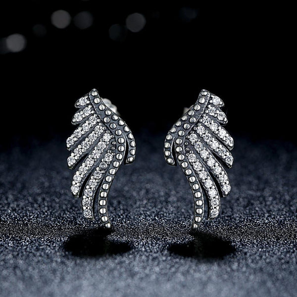 【925 Sterling Silver】Beautiful  Majestic Feathers Earrings