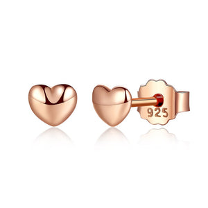 【925 Sterling Silver+Rose Gold Plated】 Heart Shape Rose Gold Plated Earrings