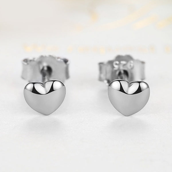 【925 Sterling Silver】 Heart Shape Silver Earrings
