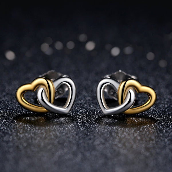 【925 Sterling Silver】 Heart To Heart Stud Earrings