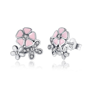 [925 Sterling Silver]  Cherry Blossom Earrings