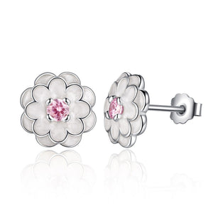 [925 Sterling Silver] Love Rose Flower Pink CZ Gemstone Earrings