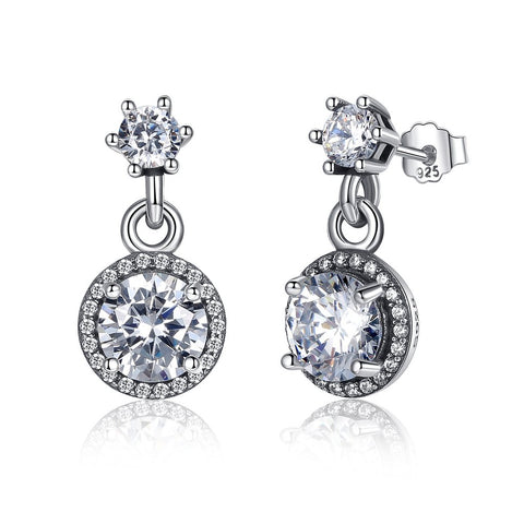 【925 Sterling Silver + Clear Cubic Zirconia】Everlasting Elegant Drop   Earrings