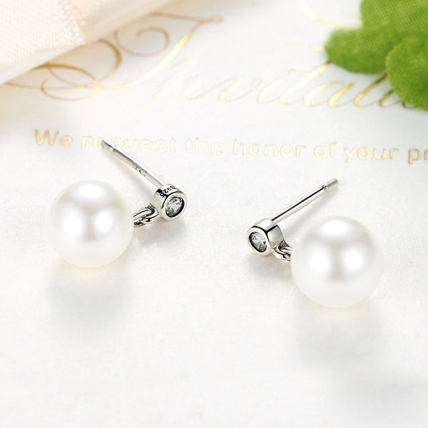 【925 Sterling Silver+Pearl】Elegant White Pearls  Earrings