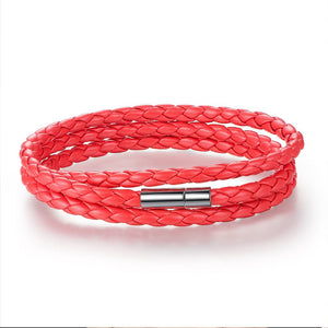 【Adjustable Length】 Magnet Head Leather  Bracelets  (Red)