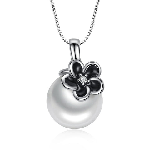 【100% 925 Sterling Silver+Pearl】Elegant Flower Pendant Necklaces