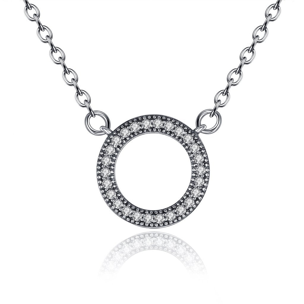 【100% 925 Sterling Silver+Pearl】 Halo Circle Pendant Necklaces