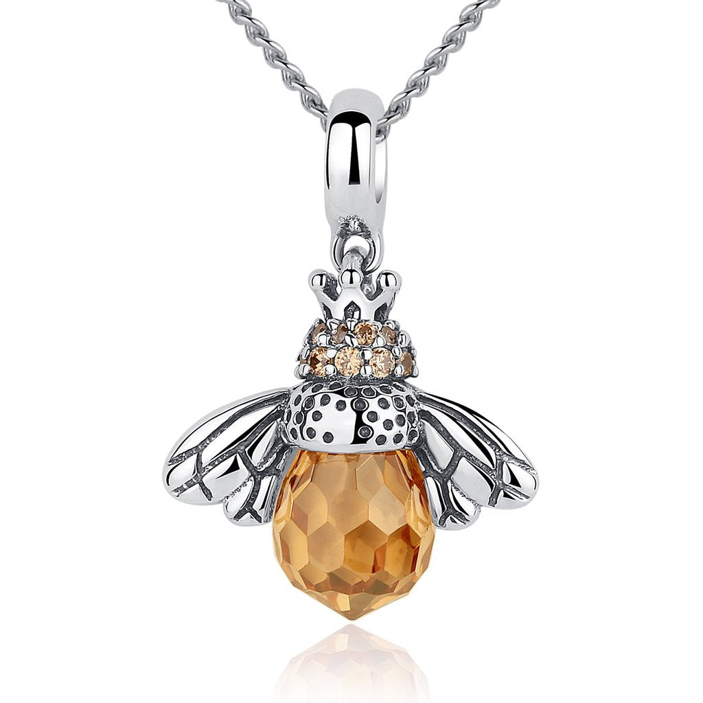 【925  Sterling Silver】  Lovely Orange Bee Animal Pendants Necklace