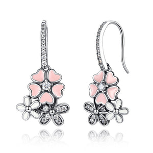 [100% 925 Sterling Silver] Poetic Daisy Cherry Blossom Earrings