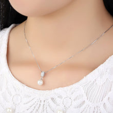 Load image into Gallery viewer, 【100% 925 Sterling Silver+Pearl】Flawless CZ Diamonds Pendant  Necklaces