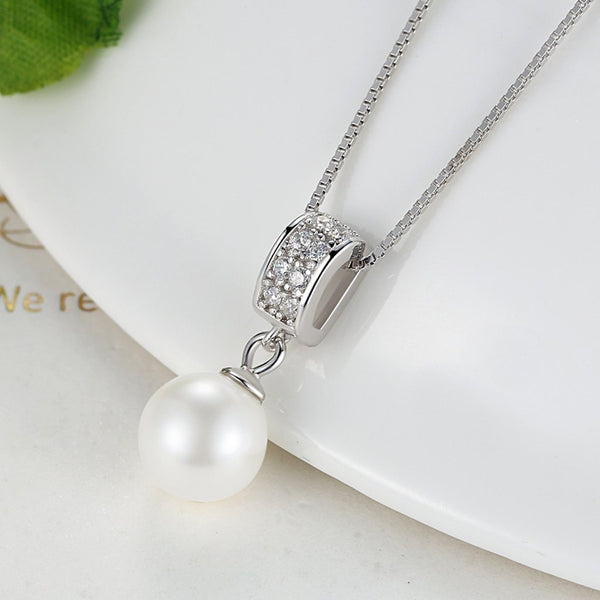 【100% 925 Sterling Silver+Pearl】Flawless CZ Diamonds Pendant  Necklaces