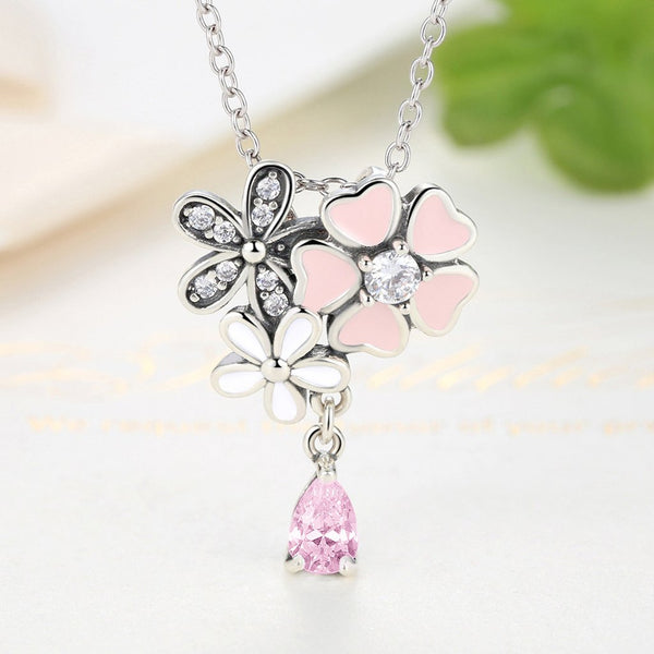 [100% 925 Sterling Silver] Poetic Daisy Cherry Blossom Necklaces