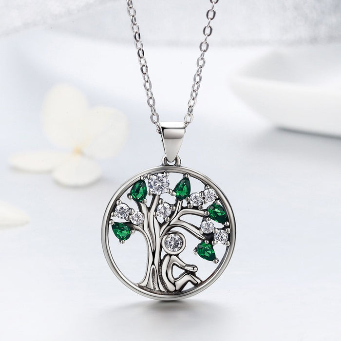 【100% 925 Sterling Silver+Pearl】 Rely Tree Pendant Necklaces