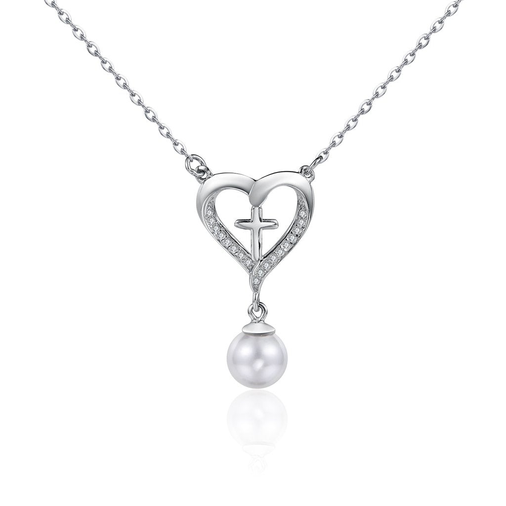 【925 Sterling Silver + Clear Cubic Zirconia+Pearl】Beautiful Cross Necklaces