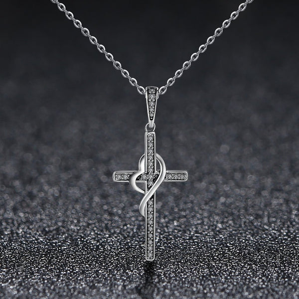 【925 Sterling Silver + Clear Cubic Zirconia】Holy Cross Necklaces