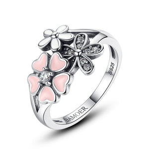 [100% 925 Sterling Silver] Poetic Daisy Cherry Blossom Rings