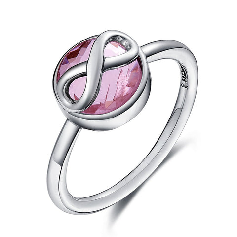 [925 Sterling Silver] Pink Crystal Infinity Love Finger Rings