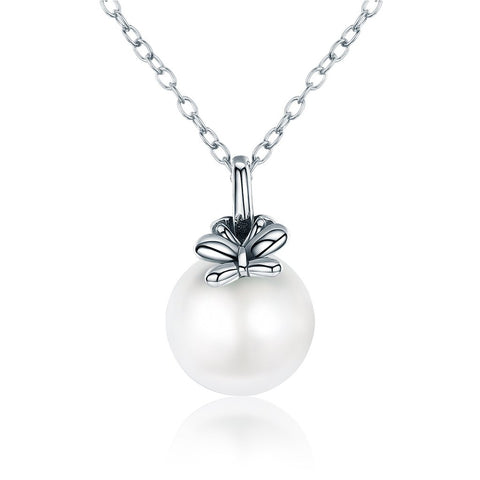 【100% 925 Sterling Silver+Pearl】 Butterfly Peal Pendant  Necklaces