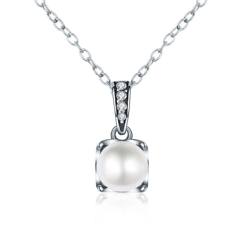 【100% 925 Sterling Silver+Pearl】Cubic Zircon&Pearl Pendant  Necklaces