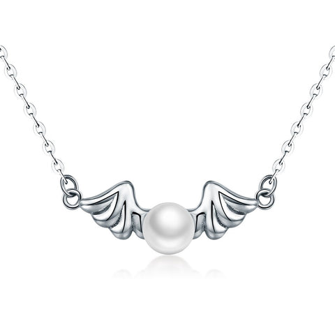 【100% 925 Sterling Silver+Pearl】 Angel Wings  Pendant  Necklaces