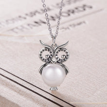 Load image into Gallery viewer, 【100% 925 Sterling Silver+Pearl】 Cute Owl Pendant  Necklaces